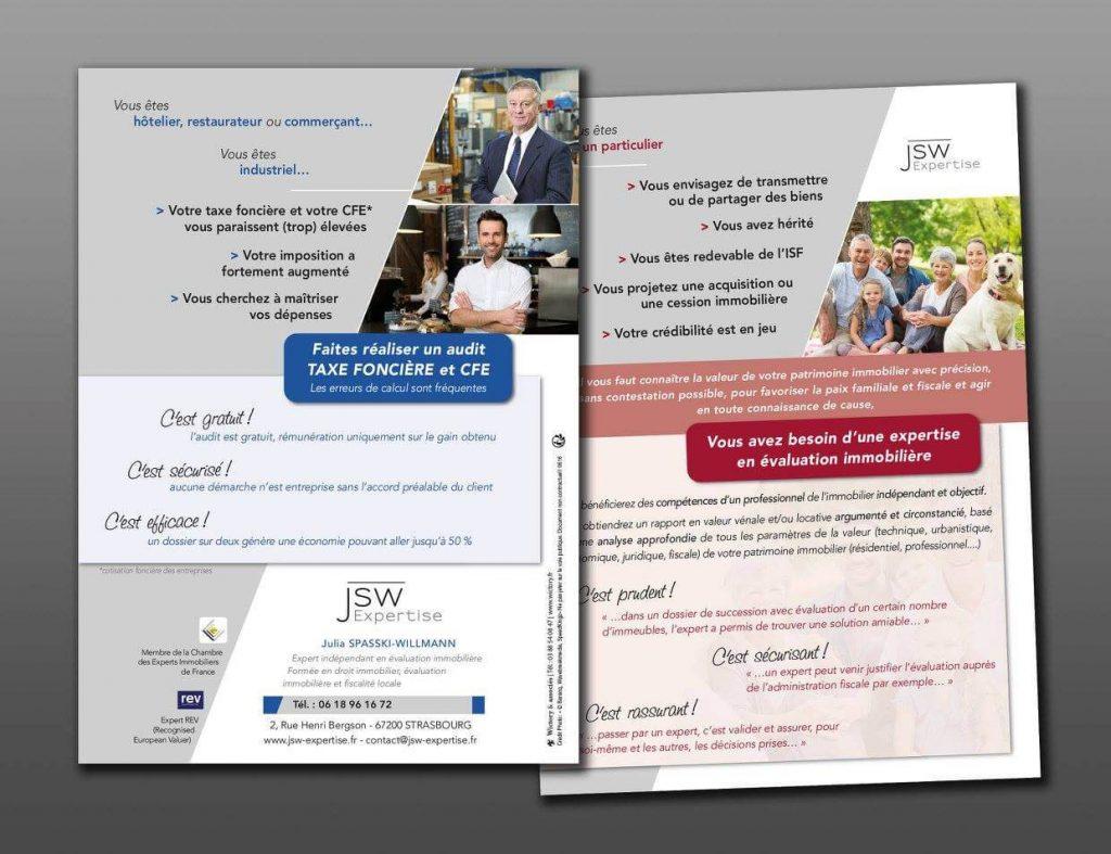 Conception, réalisation et impresion des tracts pour JSW Expertise