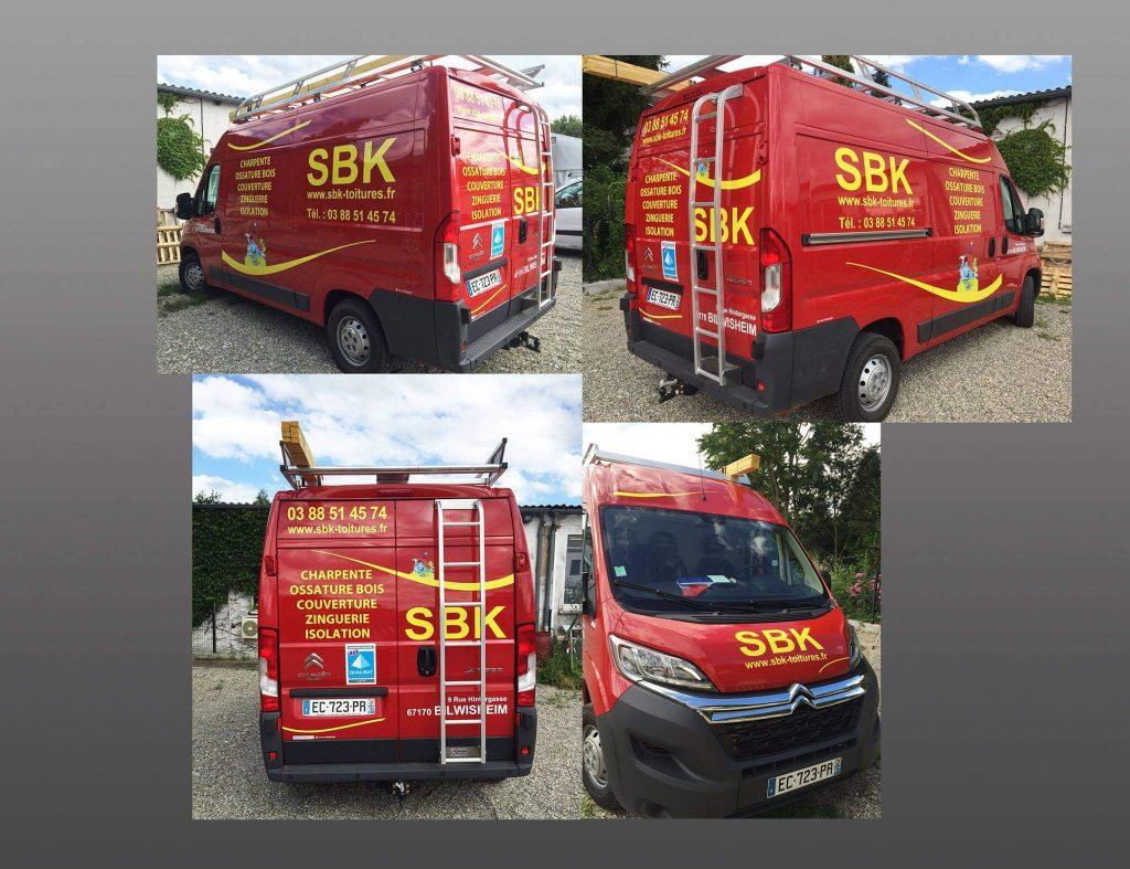 Flocage des véhicules pour l'entreprise SBK