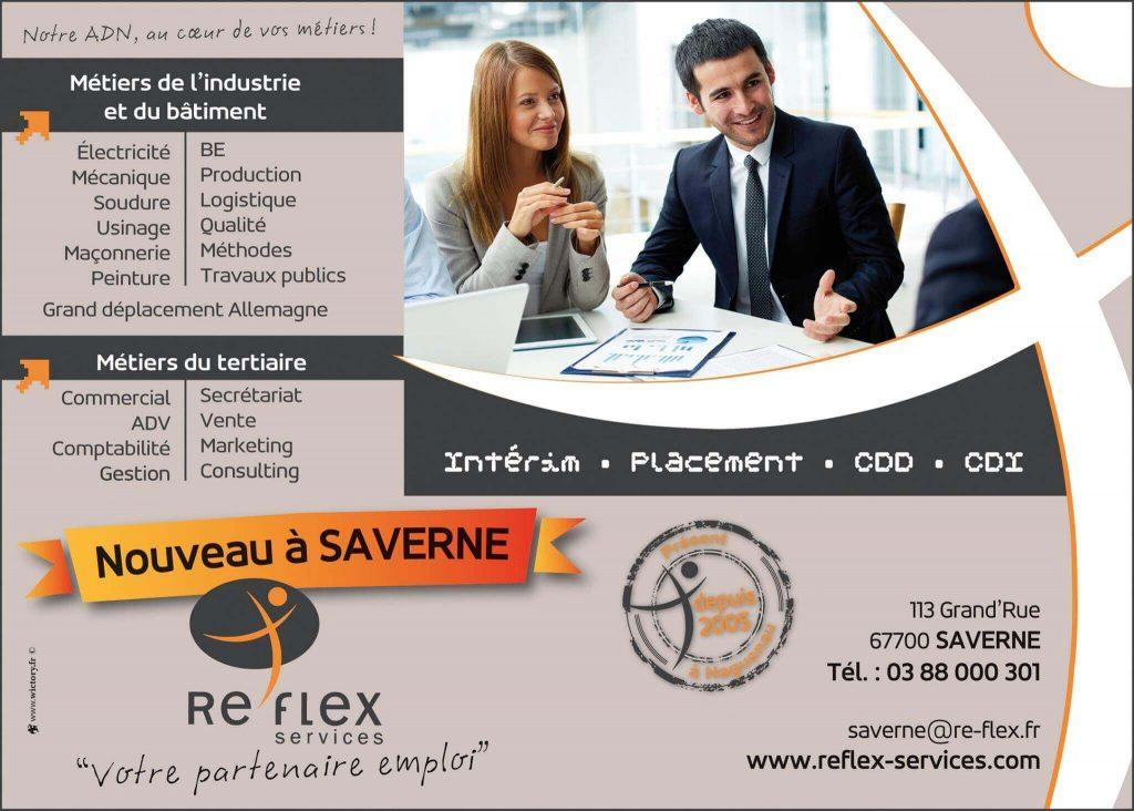 Conception de la communication Re'Flex Services pour l'ouverture de l'agence de Saverne.