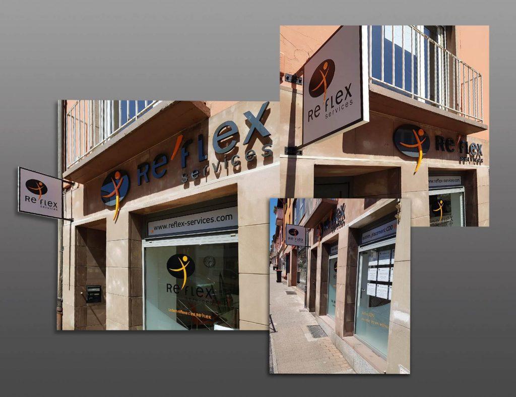 Conception, fabrication et pose de l'enseigne en lettrage 3D, de l'enseigne drapeau et de l'habillage des vitrines en vinyle adhésif pour l'agence Re'Flex Services (Intérim, CDD & CDI) Saverne.