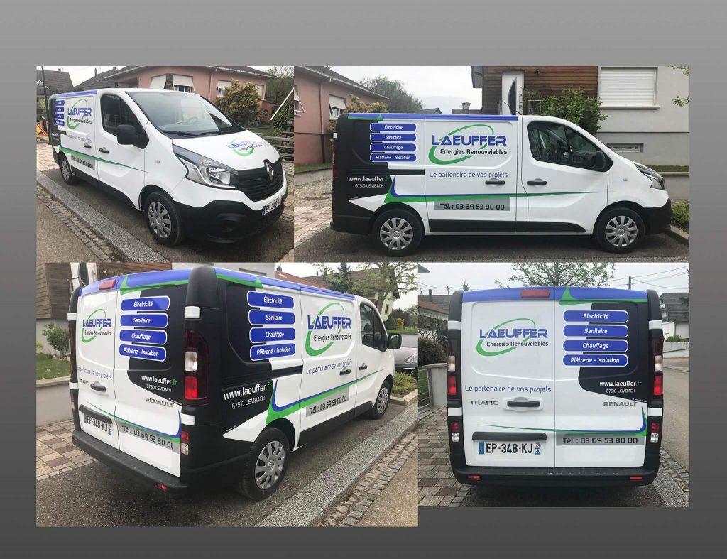 Conception du design et pose du marquage pour la flotte des véhicules Énergies Renouvelables Laeuffer de Lembach