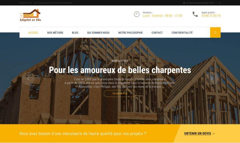 Conception et réalisation du nouveau site internet pour la menuiserie Klipfel