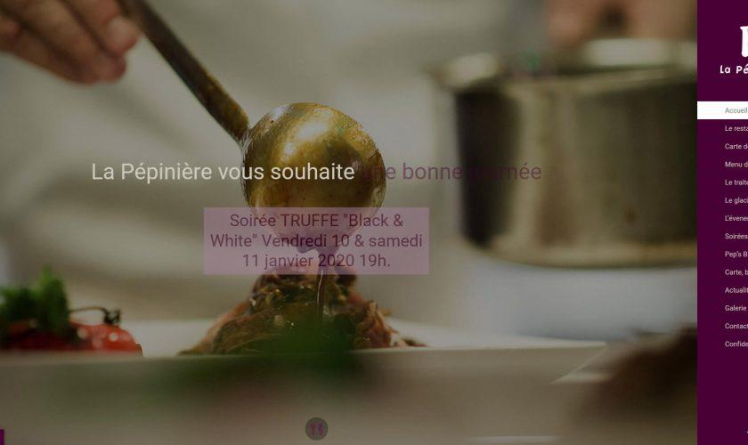 Conception du nouveau site pour le restaurant la Pépinière