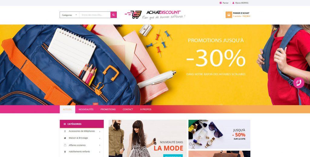 Conception et réalisation de la boutique en ligne Achat Discount