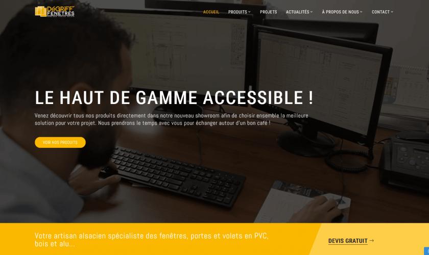 Conception du site internet pour l'entreprise Dégriff Fenêtres qui réduit les prix mais pas la qualité